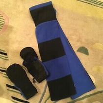 Gap Kids Black & Blue Convertible Half Finger Gloves Mittens Size L (10) & Scarf Photo