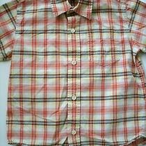 Gap Kids Boy's Shirt Plaid Button Down Short Sleeves Xs Orange Red Yellow Photo