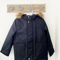 Gap Kids Boys Black Pockets Parka Coat Faux Fur Hood Size Xs 4-5 Years Nwt Photo