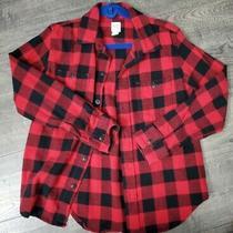 Gap Kids Boys Check Button Down Long Sleeve Shirt Red Black Gingham Size Medium Photo