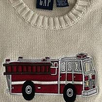 Gap Kids Boys Firetruck Appliqued Sweater Cotton Tan Size Large 9 10 Crew Neck Photo