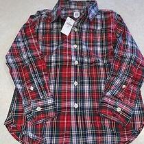 Gap Kids Boys Long Sleeve Shirt Buttons Xmas Holiday Plaid Size S 6-7 Nwt Photo