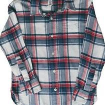 Gap Kids Boys Medium 8/9 Button Down Soft Cotton Blue/red/white Plaid Shirt Photo