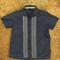Gap Kids Boys Navy Blue Guayabera Shirt Sz S 6/7 Photo