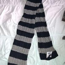 Gap Kids Boys Navy Gray Striped Rugby Knitted Scarf Photo