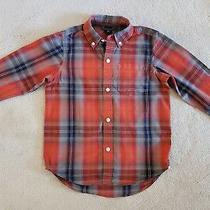 Gap Kids Boys Red Gray Plaid Long Sleeve Button Up Shirt Size Xs 4-5 Photo