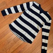 Gap Kids Boys Shirt M 8 Medium Long Sleeve Waffle Top Blue Gray Striped Photo