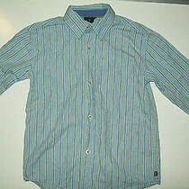 Gap Kids Boys Shirt Size 4 5 Xs Blue Stripe Long Sleeve Button Casual Spring Photo