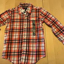 Gap Kids Checked Button Down Shirt Red Long Sleeves Sz 4-5 Nwt Photo