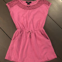 Gap Kids Cinched Tie Waste Fushia Pink Purple Dress With Pockets Size Xs 4/5 Photo
