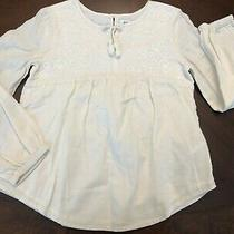 Gap Kids Cream Long Sleeve Embroidered Peasant Smock Tunic Top Shirt Girl's M 8 Photo
