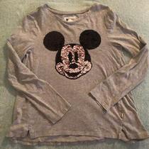 Gap Kids Disney Mickey Mouse Black Flip Sequin Long Sleeve Grey Shirt Xl Vguc Photo