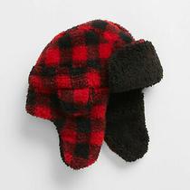 Gap Kids Factory Red Black Plaid Sherpa Trapper Hat S/m 25 Nwt Photo