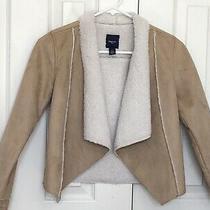 Gap Kids Faux Suede Fur Lined Jacket Coat Girls Size L 10 Excellent Condition Photo