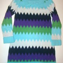 Gap Kids First Snow Zig Zag Chevron Aqua Blue Purple Sweater Dress Girls S 6 7 Photo