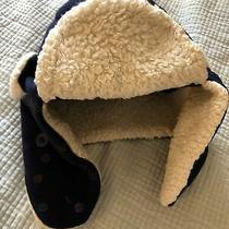 Gap Kids Fleece Trapper Hat S/m Navy Blue W/ Sparkly Polka Dots Faux Shearling Photo
