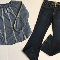 Gap Kids Girl Fall Winter Outfit Denim Blue Pants & Embroidered Top Size 12 New Photo