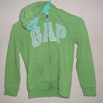Gap Kids  Girl's  10 Large Hoodie Green Sweatshirt Polka Dots Inside Hood Photo