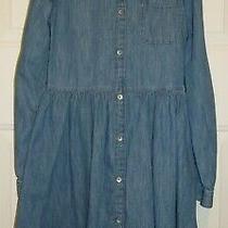 Gap Kids Girl's Blue Denim Chambray Dress Size Xl Long Sleeve Shirtdress Photo
