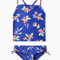 Gap Kids Girl's Blue Floral Tankini Two Piece Swim Suit Size Xs 4-5 Nwt Photo