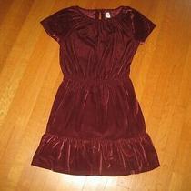Gap Kids Girl's Burgundy Red Maroon Velour Velvet S/s Dress Size Xl 12 Christmas Photo