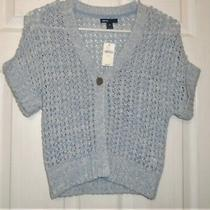 Gap Kids Girl's Cardigan Sweater Cuffed S/s  Open Knit Blue Size 10 (L) New Photo