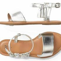 Gap Kids Girl's Metallic Silver W/ Tassel Sandal Size 4 Photo
