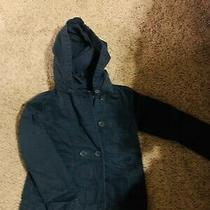 Gap Kids Girl's Navy Double-Breasted Trench Jacket Removable Hood Size 8 Euc Photo