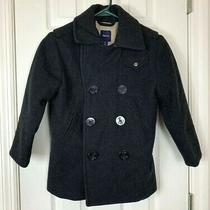 Gap Kids Girl's Pea Coat Small 6-7 Wool Blend Double Button Black Holiday 09 Euc Photo