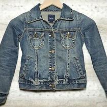 Gap Kids Girl Size Small (6 - 7) Denim Jean Jacket Blue Butterfly Buttons Pocket Photo