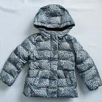 Gap Kids Girl Sz Xs Gray Floral Hooded Puffer Jacket Primaloft Down Alternative Photo