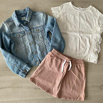 Gap Kids Girls Denim Button Up Jacket  Blush Skorts & Eyelet Top Medium 8 New Photo