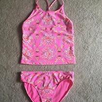Gap Kids Girls Hot Pink Floral Paisley Tankini Two-Piece Swimsuit Bathing Suit  Photo