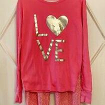 Gap Kids Girls Hot Pink Love Heart Pajama Set 14 Photo