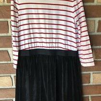 Gap Kids Girls L 10 Mixed Fabric Red Stripe Black Velour Dress Long Sleeve Photo