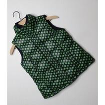 Gap Kids  Girls Large (10) Navy Green Polka Dot Puff Vest Pockets Zipper Front Photo
