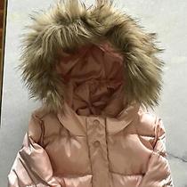 Gap Kids Girls Long Warmest Pink Champagne Down Coat Faux Fur Size Large 10 Photo