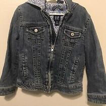 Gap Kids Girls Medium Wash Floral Lined Hooded Denim Jacket Size 6-7 Photo
