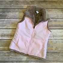 Gap Kids Girls Pink Fur Lined Puffer Vest Size Small 6/7 Photo