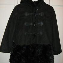 Gap Kids Girls Shearling Faux Suede Fur Coat Black Size Small 6-7 Photo