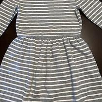 Gap Kids Girls Size Large Heather Gray White Striped Dress Worn 1 Time Photo