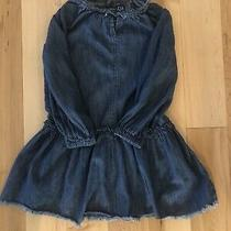 Gap Kids Girls Size S Denim Ruffle Frayed Dress Button Back Long Sleeve Photo