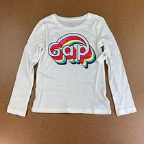 Gap Kids Girls Size Small (6-7) White Long Sleeve Colorful Graphic Logo Tee Nwt Photo