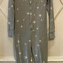 Gap Kids Girls Star Heather Gray Long Johns One Piece Snap Pajamas 12 Photo