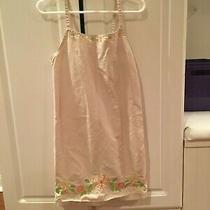 Gap Kids Girls Sun Dress Xs 4 Tan/beige Floral Jeweled Jumper Cotton  Photo