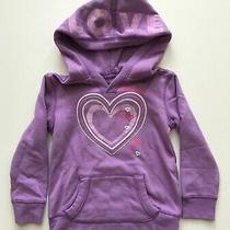 Gap Kids Girls Sz Xs 4-5 Hooded Sweatshirt Purple Lavender Love Heart Sweater Photo