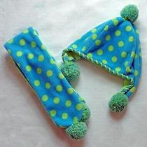 Gap Kids Girls Turquoise and Lime Polka Dot Fleece Cap and Scarf S/m Photo