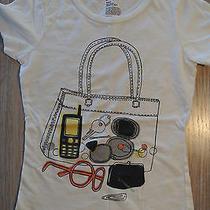 Gap Kids Girls White Graphic Purse Shopping Short Sleeve Size S Tee T-Shirt Euc Photo