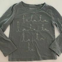 Gap Kids Graphic Print Fa La La Long Sleeve Dusk Blue Metalic Shirt Sz Xs (4-5) Photo