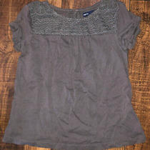 Gap Kids Grey Girls Small 6-7 Ornate Dress Shirt Short Sleeve T-Shirt Photo